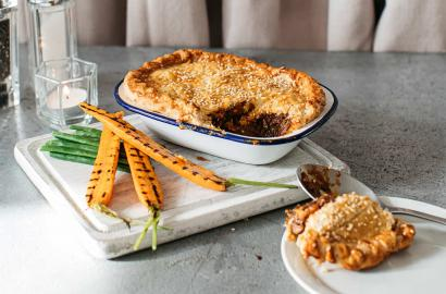 Steak & Guinness pie with beef dripping pastry